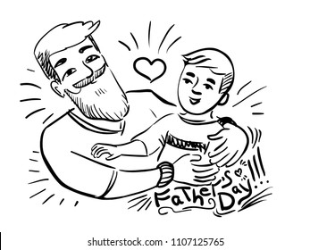 Love father - father's day - doodle man hold boy