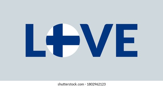Love Finland design with Finnish flag. Patriotic logo, sticker or badge. Typography design for T-shirt graphic.
