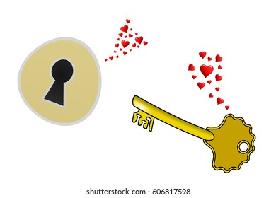 Love at first sight, a lock and a key fall in love