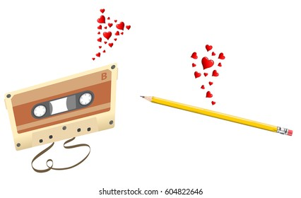 Love at first sight, a pencil and a cassette fall in love