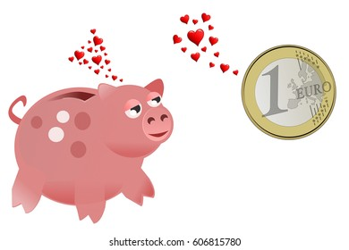 Love at first sight, a piggy bank and a coin fall in love
