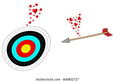Love at first sight, a target and an arrow fall in love