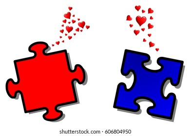 Love at first sight, two puzzle tokens fall in love