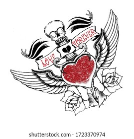 Love Forever  icons of punk skull. Shading Skull and Rose. Tattoo and t shirt printing
