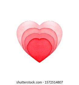 Love heart painted watercolor red isolated on white color in paper cut style
