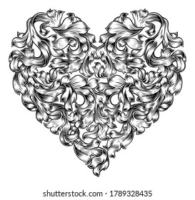 A love heart shape pattern floral vintage style woodcut etching engraving design. A Valentines or Mothers day drawing concept. This is a raster version of a vector illustration