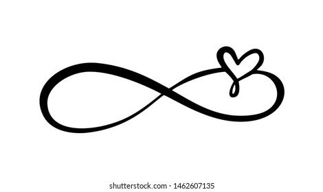 Love heart In the sign of infinity. Sign on postcard to Valentines day, wedding print. calligraphy and lettering illustration isolated on a white background