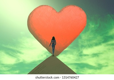 Love. Heart. Valentines. 2d illustration. Abstract dreamlike motivational image. Illustration of person being in a dream in imaginary world.