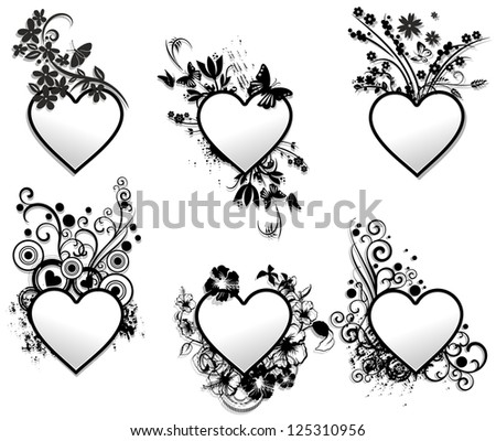Love Hearts Tattoo Ornamental Frames Set Stock Illustration