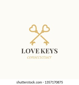 Love Keys. Abstract Sign, Symbol or Logo Template. Crossed Keys Sillhouettes with Heart Elements and Classy Retro Typography. Vintage Emblem. Isolated. Raster copy.