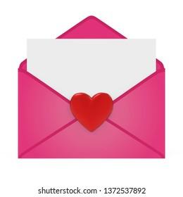 Love Letter Envelope Isolated. 3D rendering