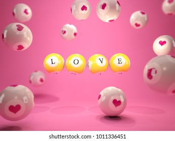 Love letters on lottery balls. 3D illustration