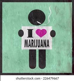 I love marijuana sign on wood grain texture