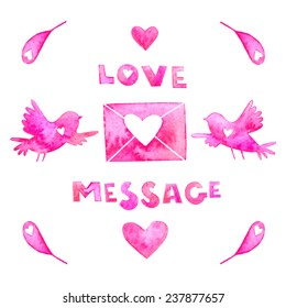 Watercolor Valentines Day Love Message Card Stock Illustration