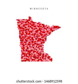 I Love Minnesota. Red and Pink Hearts Pattern Map of Minnesota Isolated on White Background.