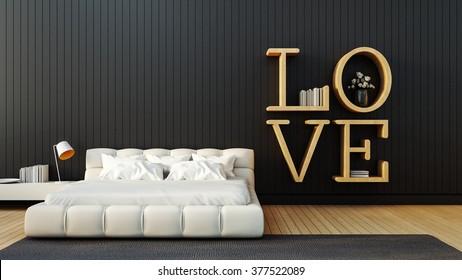 Love - modern Bedroom for Valentine's day / 3D render image