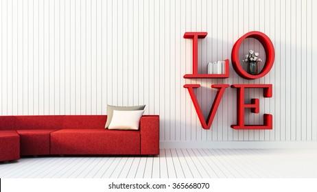 Love - modern interior for Valentine's day / 3D render image