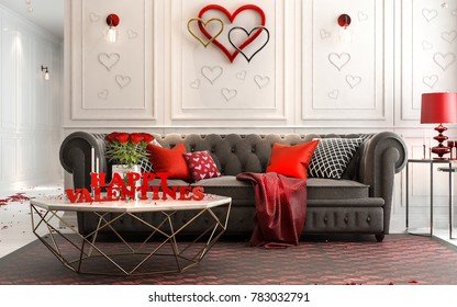 Love - modern Luxury classic interior for valentine's day. Living room decorated with love,  3D illustration