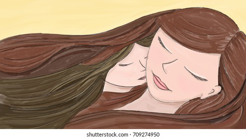 Love of a mother and a daughter that sleeping together - Painted illustration