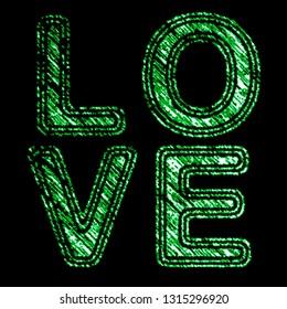 """Love"" on the black background. Illustration."