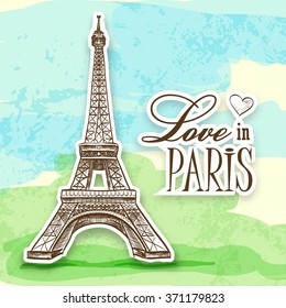 Love in Paris Efel. Eiffel tower is isolated on a colorful background