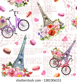 Фотообои Love in Paris. Eiffel tower, hearts, flowers, bicycle, macaroons, hand written french text. Watercolor seamless pattern in pink color