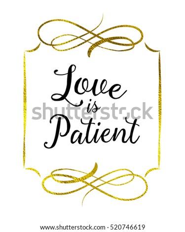 love patient typography bible scripture art stock illustration