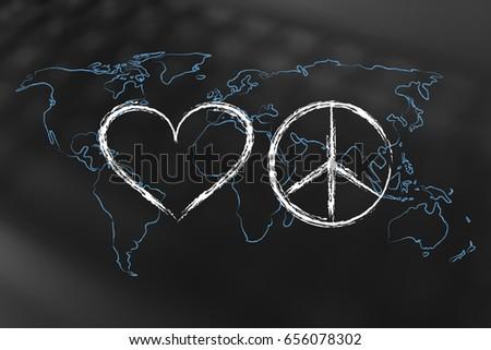 Royalty Free Stock Illustration Of Love Peace Symbol World Map