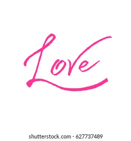 Love pink calligraphy. Valentines day romantic greeting card. Handwritten modern rose brush lover lettering. For love cards, banners, posters. illustration stock .