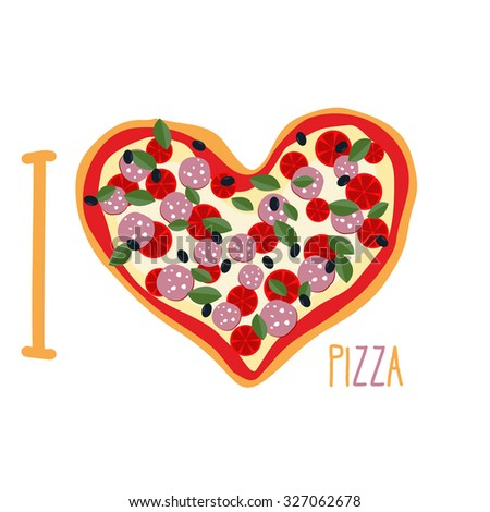 Love Pizza Heart Symbol Form Pizza Stock Illustration 327062678