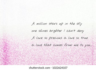 Love poetry lyric. A poem about love written on pink background. Sweet heart and romantic love moment. In love concept for Valentine's day.Calligraphy for 3D illustration and rendering with copyspace.