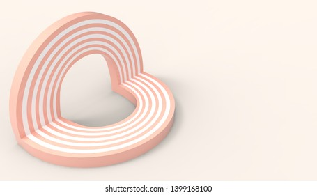 Love Pop up and Road Geometric Circle shape  Toy minimal on Modern Art pastel Yellow wall scene on background - 3D rendering