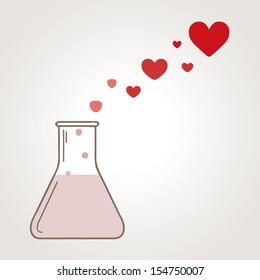 A love potion. Illustration with flask and heart-shape bubbles