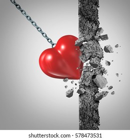 Love power and relationship passion pain or the concept of painful experience as a symbol with a heart wrecking ball demolishing a wall with 3D illustration elements.