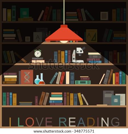 I Love Reading Banner With Bookshelf And Lighting Lamp Raster Version
