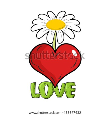 love red heart flower template tattoos stock illustration 453697432