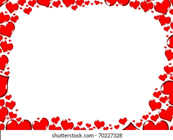love red hearts border frame card illustration isolated on white