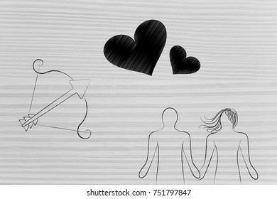 love and relationships conceptual illustration: couple holding hands with cupid's bow next to loveheart symbols above them
