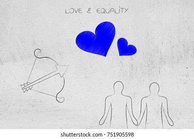 love and relationships conceptual illustration: homosexual couple holding hands with cupid's bow next to loveheart symbols above them
