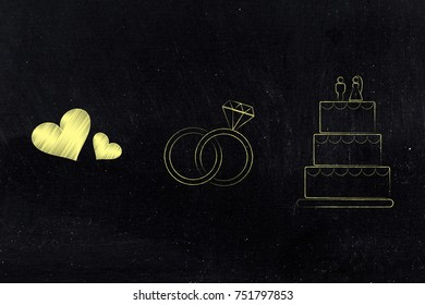 love and relationships conceptual illustration: lovehearts icon next to wedding rings and cake