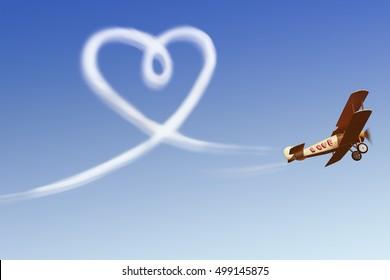 Love simbol in the sky / 3d render