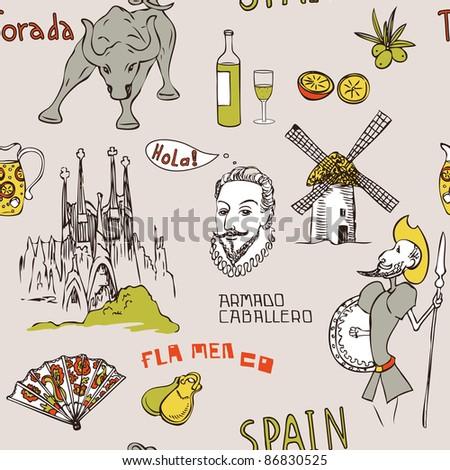 Love Spain Doodles Symbols Spain Endless Stock Illustration 86830525