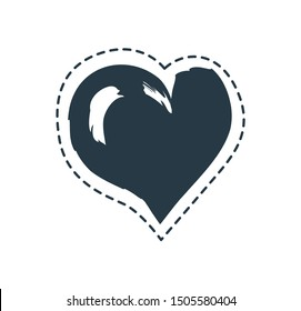 Love symbol or sign heart framed patch isolated. Assymetric monochrome dash lined doodle raster illustration as romantic element for decoration poster.