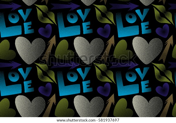 Love symbols in green, brown and violet colors on a black background. Raster abstract pattern for girls or boys, can be used for textile, fabric, clothes. Seamless pattern with lips, hearts, arrows.