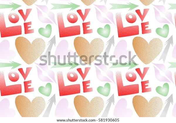 Love symbols in red and orange colors on a white background. Raster abstract pattern for girls or boys, can be used for textile, fabric, clothes. Seamless pattern with lips, hearts, arrows.