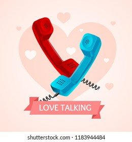 Love Talk Old Phone Concept on a Background Of Heart Symbol Of Romance. illustration