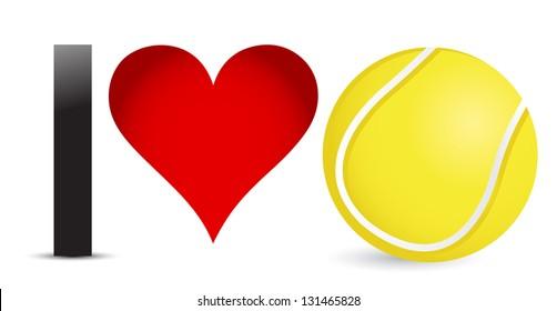I love Tennis, Heart with Tennis Ball Inside illustration design