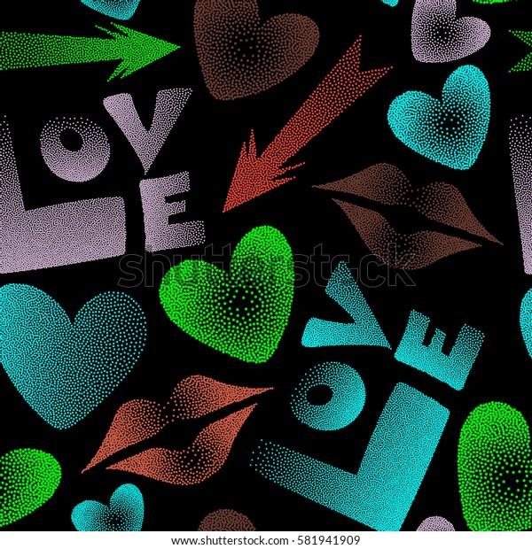 Love text and kissing lips on a black backdrop for print wrapping paper or textile. Love seamless background pattern in orange and green colors.