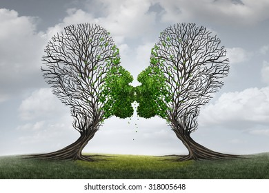 Love Therapy and relationship recovery counseling concept as two empty trees shaped as a human head attracted together as a devoted loving couple with kissing lips for a healthy passionate relation.