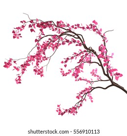 Love tree branch with pink heart-shaped leaves, isolated on white background. Valentine's Day concept. 3D rendering.